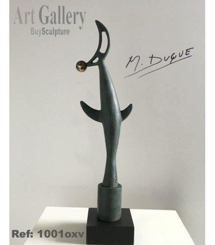 Skulptur Vogel und Mond Bronze Grünoxidiert | Martín Duque